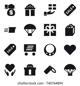 16 vector icon set : money gift, gift, sale, delivery, parachute, shopping bag, sale label, necklace