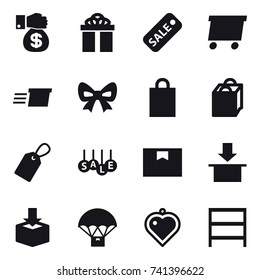 16 vector icon set : money gift, gift, sale, delivery, bow, shopping bag, label, heart pendant, rack