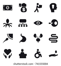 16 vector icon set : money, money gift, courier, bulb head, virus, structure, invalid, hand and drop