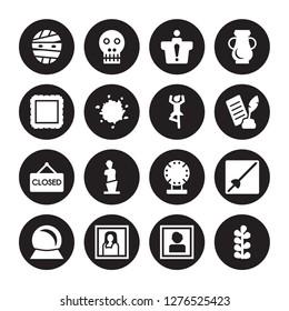 16 vector icon set : Mummy, Portrait, Gioconda, Souvenir, museum Fencing, Botanical, Frame, Closed, Ballet isolated on black background