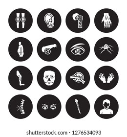 16 vector icon set : Myxedema, Mí©niíÂre's disease, Microcephaly, Middle East Respiratory Syndrome (MERS), Migraine isolated on black background