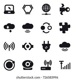 16 vector icon set : notebook, hex molecule, globe connect, satellite, cloude service, cloud wireless, quantum bond, puzzle, wireless