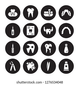 16 vector icon set : Occlusal, Tweezers, White teeth, Wisdom tooth, Apicoectomy, Toothpaste tube, Sealants, Intraoral, Prophylaxis isolated on black background