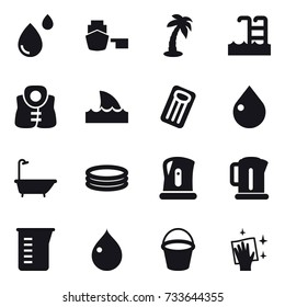 16 vector icon set : palm, pool, life vest, shark flipper, inflatable mattress, drop, bath, inflatable pool, kettle, measuring cup, bucket, wiping