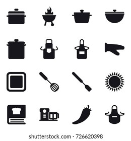 16 vector icon set : pan, bbq, cauldron, apron, cook glove, cutting board, whisk, spatula, hot pepper