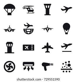 16 vector icon set : parachute, airport tower, plane, air ballon, ticket, airplane, departure, cooler fan, air conditioning, hair dryer