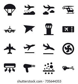 16 vector icon set : parachute, weather management, journey, deltaplane, airport tower, ticket, airplane, departure, arrival, cooler fan, air conditioning, hair dryer, blower