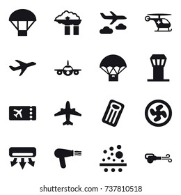 16 vector icon set : parachute, factory filter, journey, airport tower, ticket, airplane, inflatable mattress, cooler fan, air conditioning, hair dryer, blower