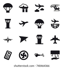 16 vector icon set : parachute, factory filter, journey, airport tower, plane, deltaplane, airplane, inflatable mattress, cooler fan, blower, hand dryer