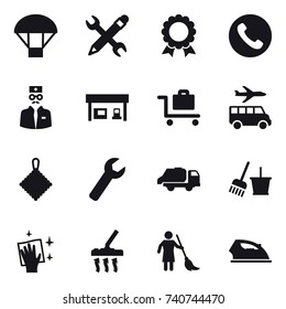 16 vector icon set : parachute, pencil wrench, medal, phone, gas station, baggage trolley, transfer, rag, wrench, trash truck, bucket and broom, wiping, vacuum cleaner, brooming, iron