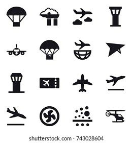 16 vector icon set : parachute, factory filter, journey, airport tower, deltaplane, ticket, airplane, departure, arrival, cooler fan