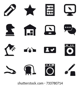 16 vector icon set : pencil, star, abacus, monitor arrow, chess horse, warehouse, notebook, discussion, table lamp, drawbridge, check in, washing machine, walnut crack, vacuum cleaner, toilet brush