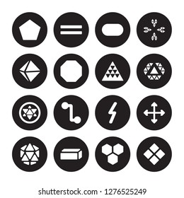 16 vector icon set : Pentagon, Hexagon, Hexahedron, Icosahedron, Intersection, Geometry, Octahedron, Metatron cube, Multiple triangles triangle isolated on black background