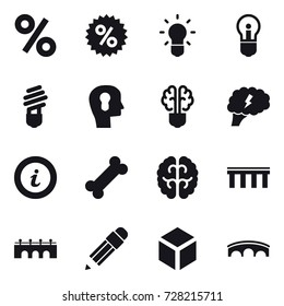 16 vector icon set : percent, bulb, bulb head, bulb brain, brain, info, bridge, pencil, 3d