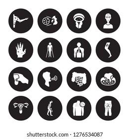 16 vector icon set : Peritonitis, Neoplasm, Night blindness, Non-gonococcal urethritis, Obesity, Necrotizing Fasciitis, Paratyphoid fever, Otitis, Palindromic rheumatism isolated on black background