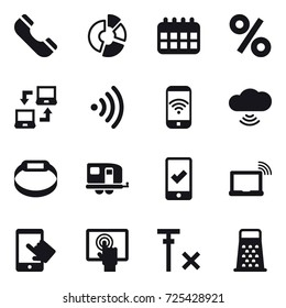 16 vector icon set : phone, circle diagram, calendar, percent, notebook connect, wireless, phone wireless, cloud wireless, smart bracelet, trailer, mobile checking