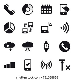 16 vector icon set : phone, circle diagram, calendar, touch, diagram, notebook connect, notebook wireless, wireless, cloude service, cloud wireless, smartwatch, mobile checking
