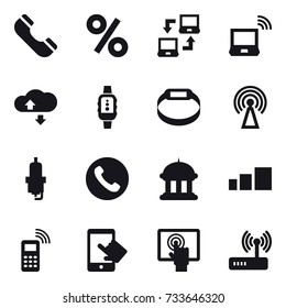 16 vector icon set : phone, percent, notebook connect, notebook wireless, cloude service, smartwatch, smart bracelet, antenna, spark plug, goverment house