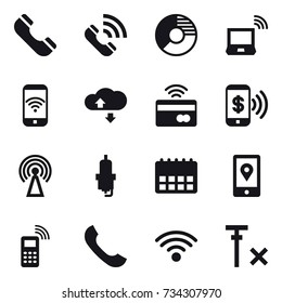 16 vector icon set : phone, call, circle diagram, notebook wireless, phone wireless, cloude service, tap to pay, phone pay, antenna, spark plug