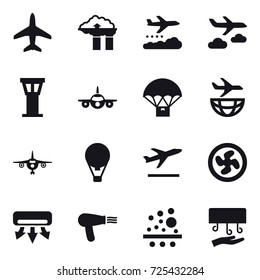 16 vector icon set : plane, factory filter, weather management, journey, airport tower, air ballon, departure, cooler fan, air conditioning, hair dryer, hand dryer