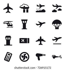 16 vector icon set : plane, factory filter, weather management, journey, airport tower, ticket, airplane, departure, inflatable mattress, cooler fan, hair dryer, blower