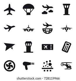 16 vector icon set : plane, parachute, journey, airport tower, deltaplane, ticket, inflatable mattress, cooler fan, hair dryer