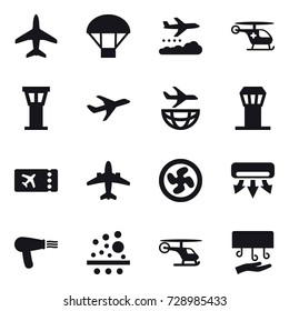 16 vector icon set : plane, parachute, weather management, airport tower, ticket, airplane, cooler fan, air conditioning, hair dryer, hand dryer