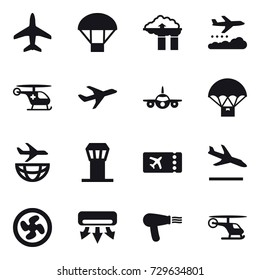 16 vector icon set : plane, parachute, factory filter, weather management, airport tower, ticket, arrival, cooler fan, air conditioning, hair dryer
