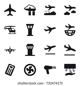 16 vector icon set : plane, factory filter, weather management, journey, airport tower, departure, arrival, inflatable mattress, cooler fan, hair dryer, hand dryer