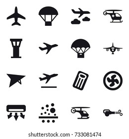 16 vector icon set : plane, parachute, journey, airport tower, deltaplane, departure, inflatable mattress, cooler fan, air conditioning, blower
