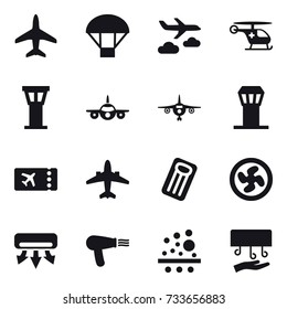 16 vector icon set : plane, parachute, journey, airport tower, ticket, airplane, inflatable mattress, cooler fan, air conditioning, hair dryer, hand dryer