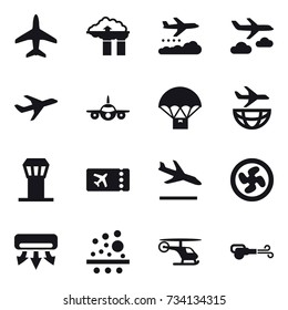 16 vector icon set : plane, factory filter, weather management, journey, airport tower, ticket, arrival, cooler fan, air conditioning, blower
