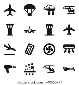 16 vector icon set : plane, parachute, factory filter, airport tower, airplane, arrival, inflatable mattress, cooler fan, air conditioning, hair dryer, blower