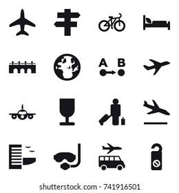 16 vector icon set : plane, singlepost, bike, bridge, passenger, arrival, hotel, diving mask, transfer, do not distrub