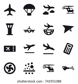 16 vector icon set : plane, parachute, journey, airport tower, deltaplane, ticket, departure, arrival, inflatable mattress, cooler fan, blower