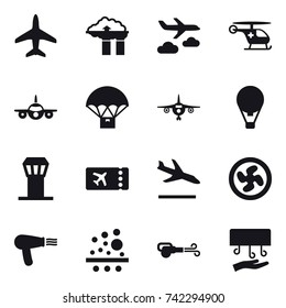 16 vector icon set : plane, factory filter, journey, air balloon, airport tower, ticket, arrival, cooler fan, hair dryer, blower, hand dryer