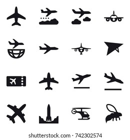 16 vector icon set : plane, weather management, journey, plane, ticket, airplane, departure, arrival, wasp