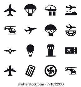 16 vector icon set : plane, parachute, factory filter, weather management, air ballon, airport tower, ticket, airplane, inflatable mattress, cooler fan