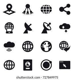 16 vector icon set : pointer, share, globe, notebook globe, satellite antenna, cloude service, cloud wireless, passport