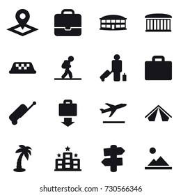 16 vector icon set : pointer, portfolio, airport building, taxi, tourist, passenger, suitcase iocn, suitcase, baggage get, departure, tent, palm, hotel, signpost, landscape