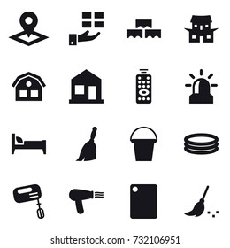 16 vector icon set : pointer, gift, block wall, japanese house, house, home, remote control, alarm, bed, broom, bucket, inflatable pool, mixer, hair dryer, cutting board