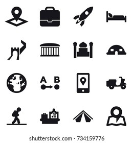 16 vector icon set : pointer, portfolio, rocket, greate wall, airport building, minaret, dome house, tourist, baggage checking, tent, map