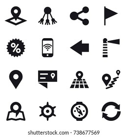 16 vector icon set : pointer, share, flag, percent, phone wireless, left arrow, lighthouse, map, handwheel, compass, reload