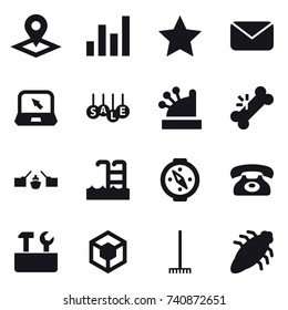 16 vector icon set : pointer, graph, star, mail, notebook, sale, cashbox, drawbridge, pool, compass, phone, repair tools, rake, bug
