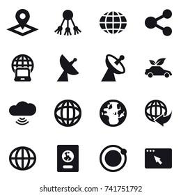 16 vector icon set : pointer, share, globe, notebook globe, satellite antenna, eco car, cloud wireless, passport