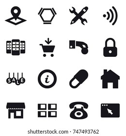 16 vector icon set : pointer, hex molecule, pencil wrench, wireless, server, add to cart, hand coin, lock, sale, info, home, shop, panel house