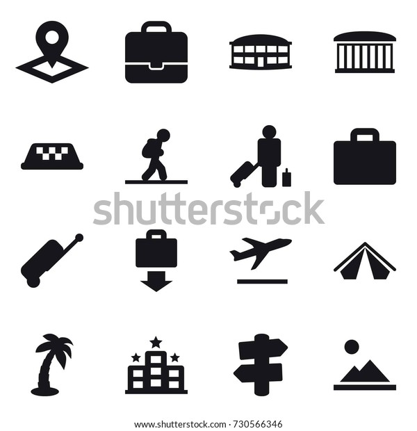 16 Vector Icon Set Pointer Portfolio Stock Vector Royalty Free 730566346