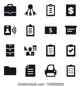 16 vector icon set : portfolio, share, clipboard, receipt, pass card, atm receipt, architector, clipboard list