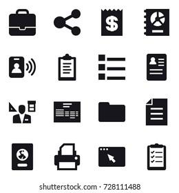 16 vector icon set : portfolio, share, receipt, annual report, pass card, clipboard, list, architector, passport, clipboard list