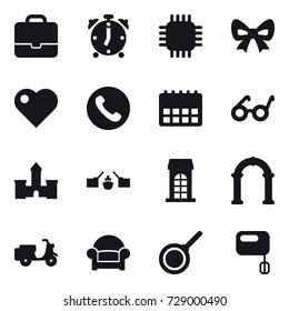 16 vector icon set : portfolio, alarm clock, chip, bow, heart, phone, castle, drawbridge, building, arch, armchair, pan